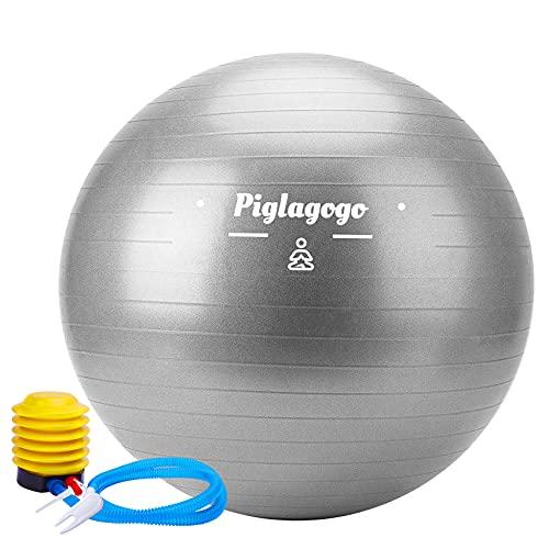 Balón de gimnasio, balón de yoga para embarazo, gimnasia, peso, para pilates, deporte, casa, material antiestallido, antideslizante, con bomba hinchable, 65 cm, color gris