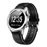 DT28 1.54InCH IP68 Strap Silicone Strap Smart Watch Bluetooth 4.2, Soporte Recordatorio de Llamadas entrantes/Monitoreo de la presión Arterial/Pago Sunshine20 (Color : Black Silver)