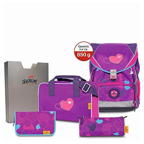 DerDieDas ErgoFlex XL Schulrucksack Set 5 tlg. Velvet Heart