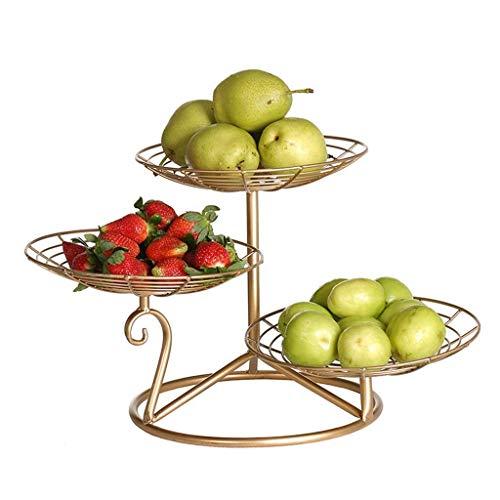 YXDEW por Niveles de Tres Placa de la Fruta, Bandeja Bandeja Creativa del Metal for el hogar Salón Cocina Bandeja Bandeja Club Bar 25 * 30 cm Plato de Fruta Plato