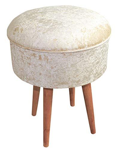 Euro Tische Samt Hocker modern, stilvoll & bequem - Sitzhocker perfekt geeignet für Schminktisch oder als Deko - 4 (Beige)