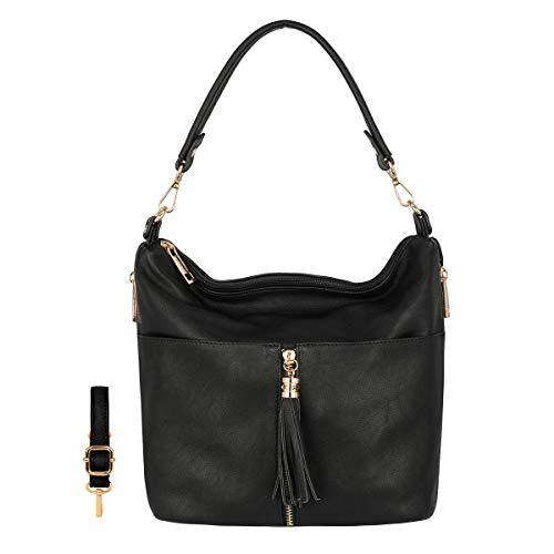 CRAZYCHIC - Damen Viele Fächer Taschen Schultertasche - Multi-Pocket Umhängetasche Messenger Crossbody Bag - PU Weiches Leder Hobo Bag Beuteltasche - Schulter Tote Shopper Handtasche - Schwarz