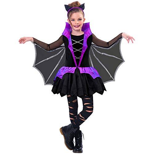 Amscan 9904775 - Kinderkostüm Miss Battiness, Kleid mit Flügeln und Haarreif, Fledermaus, Karneval, Mottoparty, Halloween
