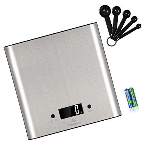 Philorn Bilancia Cucina Digitale Professionale, 5kg/1g Alta Precisione | LCD Display Retroilluminato, FunZione Tara, Inox Spazzolato | Bilancia Elettronica Pesa Alimenti (Gratis: Batterie e Misurini)
