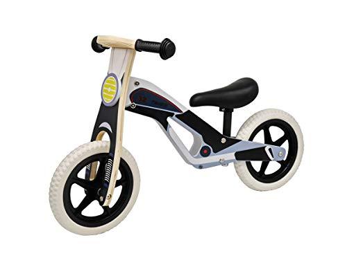 Coemo Laufrad ,,Tom' aus hochwertigem bemaltem Holz mit höhenverstellbarem Sitz - Robustes Lauflernrad mit pannensicheren Reifen für Kinder ab 2 Jahren