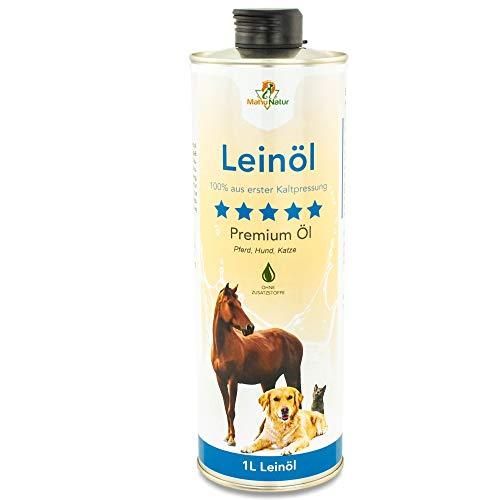 Mahu Natur Leinöl für Hunde 1 Liter - Öl Nativ mit Omega 3 & Omega 6 Fettsäuren - Leinöl für Pferde, Hunde & Katzen natürlicher Futterzusatz zum Barfen - Leinsamenöl Kaltgepresst in recyclebarer Dose