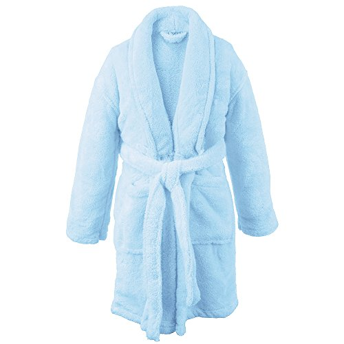 BC BARE COTTON Kids Microfiber Fleece Shawl Robe - Boys - Turquoise - Large