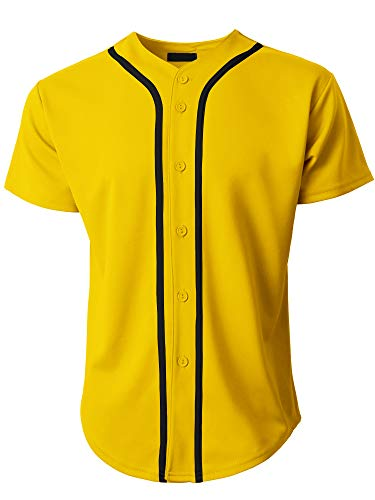 Ma Croix Mens Premium Button Down Baseball Jersey Team Uniform Hip Hop Urban Tee Shirt (Small, 1up01_Yellow/Black)