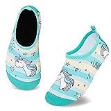 Zapatos de Agua para Niños Antideslizante Secado RáPido Descalzo Calcetines Zapatillas de Piscina Escarpines(Unicornio Caballo Verde,24/25EU)
