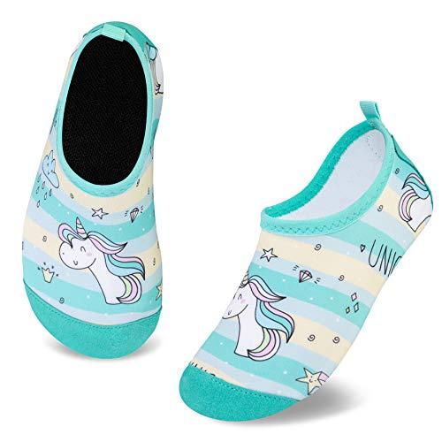 Zapatos de Agua para Niño Zapatillas Calcetines Secado RáPido Descalzo de Piscina Escarpiness Acuáticas Antideslizante(Unicornio Caballo Verde,20/21EU)
