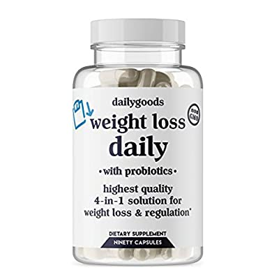 DailyGoods Powerful Weight Loss Pills with Probiotics for Women and Men - Natural, Non-GMO, 90 Capsules 4-in-1 Fat Burners: Appetite Suppressant, Energy Booster, Metabolism and Thermogenic Diet Pills
