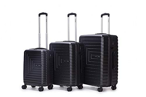 Suitcase Set - National Geographic - Arctic - 3 piece Expandable Hardside Luggage Set (28', 24', 20') - Black