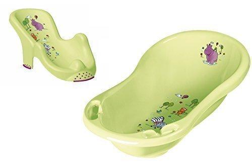 OKT Kids - Set con vasca per il bagnetto (XXL, 100 cm) e seggiolino per vasca da bagno per neonati, motivo ippopotamo, colore: Verde