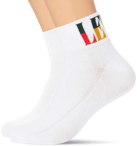 Levi's Unisex-Adult Split Tall Logo Mid Cut Socks (2 Pack) Sneaker, White, 39/42 (2er Pack)
