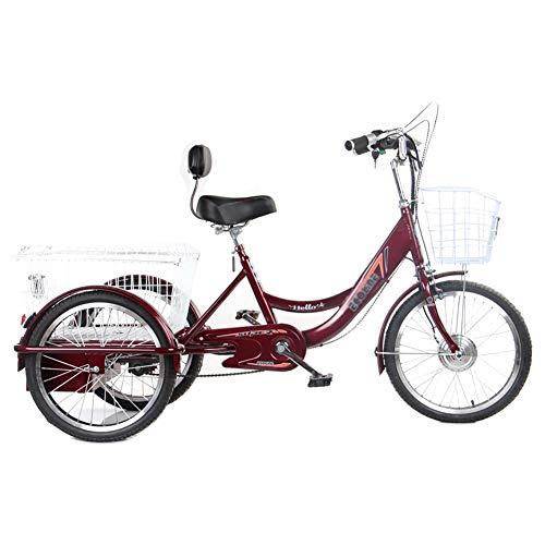 Dreirad Erwachsene Dreirad Fahrrad 20 '' elektrische Unterstützung 3 Räder Fahrräder für Eltern Lithiumbatterie 250W Motor Mit zusätzlichem Einkaufskorb Mobilität Dreirad Übung Belastung 200kg