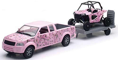 New-Ray Pink Camo Pickup Truck with Pink Camo Polaris Razor