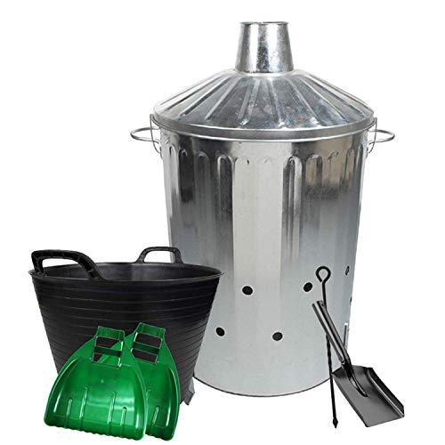 simpaoutdoor Large Galvanised Locking Lid Incinerator Bin 90 Litre, Mini Shovel, Poker, 42L Flexi Tub and Plastic Leaf Grabber Set.
