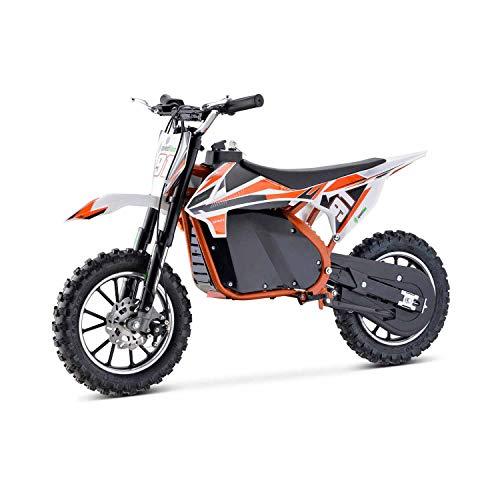 Moto Eléctrica Niños Desde 5 o 6 años | Minimoto Eléctrica Naranja BIPOWER Speed Lion | Moto eléctrica 500W y 36V | También para Adultos < 60 kg