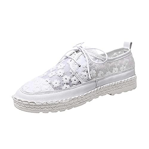 Beudylihy Zapatos de encaje para mujer, de malla, con cordones florales, con tacones bajos, color, talla 36 EU