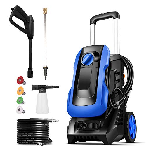mrliance 3300PSI Electric Pressure Washer 2.6GPM Power Washer 1800W High Pressure Washer,Compact with New Retractable Handle,4 Nozzles&Detergent Bottle,for Cars,Porch,Furniture,Fence(Blue)
