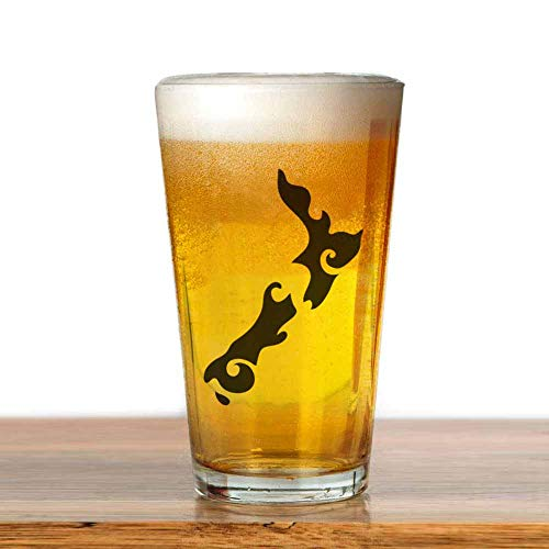 77 xiochgzish Bier NZ Neuseeland Karte Tattoo Style Pint Glas, 17 oz. Trinkglas