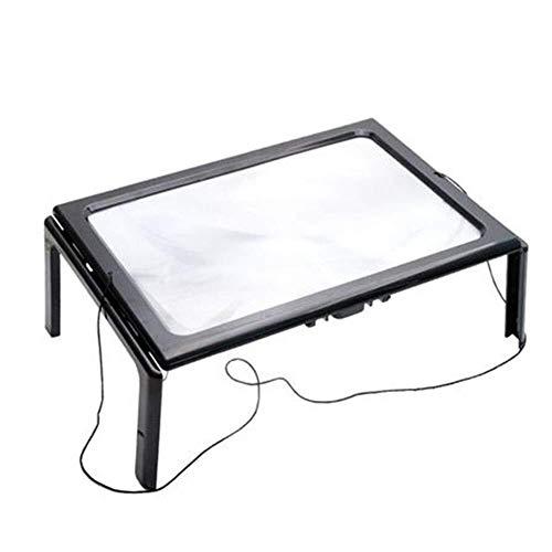 HJXSXHZ366 loep met 3X led-desktop-loep, A4-handsfree inrichting, opvouwbare voet, rechthoekige loep, leeslamp - voor handwerk, sieraden, naaien, werkbank