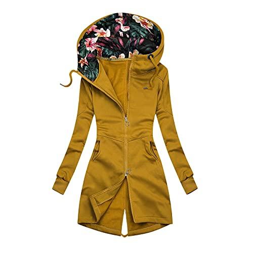 Philippians - Sudadera con capucha para mujer, estilo informal, con estampado, talla grande, para otoño e invierno, amarillo, M