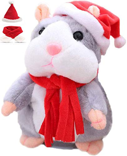 FEINASU Talking Hamster Plush Toy, Repeat What You Say Funny Kids Stuffed Toys, Talking Record Plush Interactive Toys, Birthday Gift Kids Early Learning Comes with A hat and Red Scarf