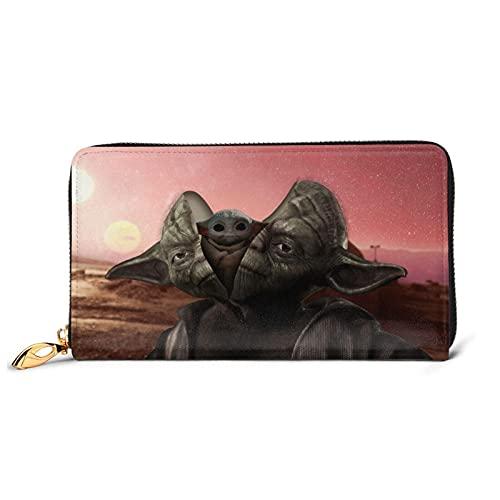 Star Yoda Wars - Cartera de piel con cremallera para muñeca con múltiples tarjetas para teléfono móvil, tarjeta de crédito, moneda, bolsa de almacenamiento para hombres y mujeres