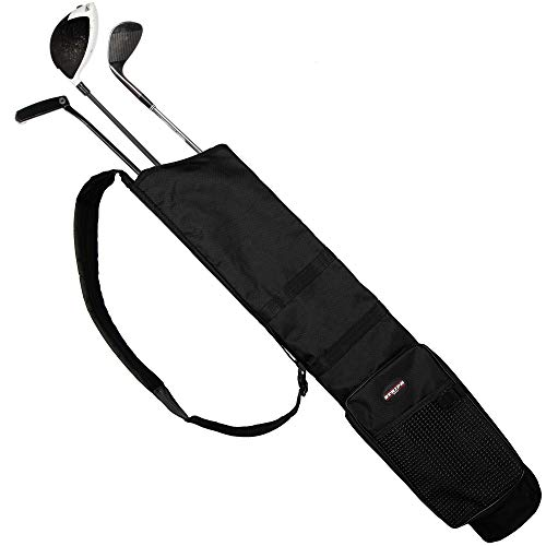 Stripe Golf Sunday Golf Bag | Black Lightweight Travel Carry Golf Bag with Cushioned Shoulder Strap for Driving Range Practice Easy Transport - Good for Beginners, Youth, Adult or Seniors