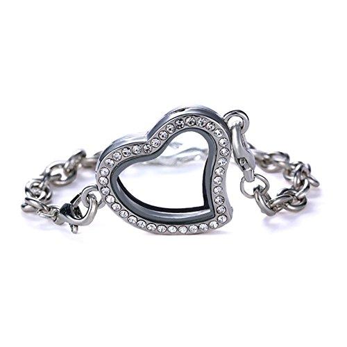 Bling Sterne Glas Herz Form Strass Floating Charm Living Memory haardosen Armband