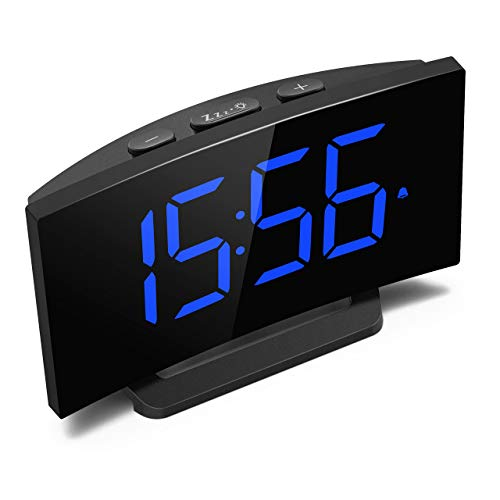 Mpow Digital Alarm Clock, Digital LED Clock Bedside Mains Powered with Snooze Function, 1-Minute Easy Setting, 5'' Large Display Number, Perfect for Bedroom, Blue (Adapter Included)