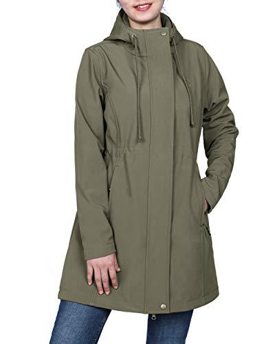 Womens Olive Green Softshell Hooded Lightweight Windproof Fleece Lined Waterproof Long Jacket