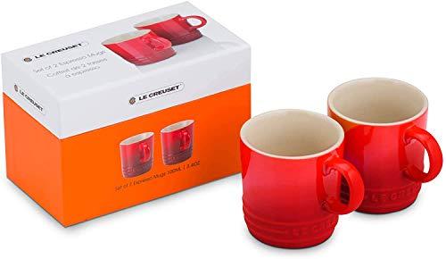 Le Creuset Set de 2 tazas de espresso, Cerámica de gres, 100 ml cada una, Rojo Cereza