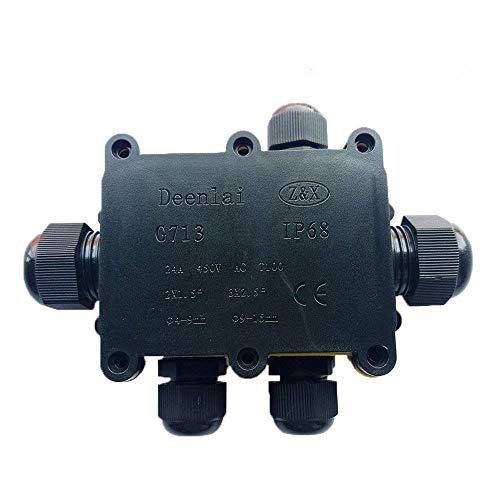 3-Wege Wasserdichte Abzweigdose Kabelmuffle Wasserdicht Verbindungsdose Verteilerdose Dosenmuffle Erdkabel IP68 12mm-15mm, 3-Wege-Verbindungsdose Erdkabel Schwarz Elektrischer Außenverteilerd (5)
