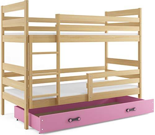Interbeds Etagenbett Eryk 160x80cm aus Kiefernholz; mit Matratzen und Lattenroste (Kiefer + rosa Schublade)