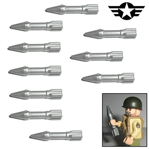 10x M6 Bazooka Panzer-Abwehr Rakete der USA im WW2 - Custom Soldaten Waffe für Lego Figuren
