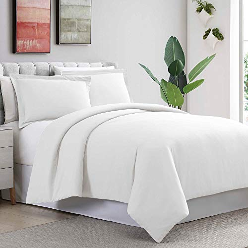 Precious Star Linen Luxuries Hotel Quality 1000TC 3pc Duvet Cover Set with Zipper Closer & Corner Ties,Soft Natural Egyptian Cotton, Fade Resistant (King/Cal-King (92 x 104 Inch), White Solid)
