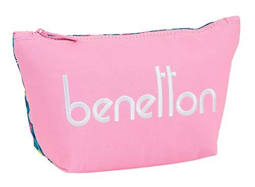 Safta Neceser Escolar Infantil con Porta Maquillaje de Benetton Blooming, 230x80x120mm, rosa/multicolor