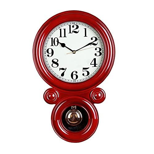 AWYST Relojes Salon Reloj de Pared de Personalidad Retro,Sala de Estar MUDE Mujer Mujer Moda Moda CRATURA Completa CASA DE LA Pared Reloj Cocina (Color : Red)