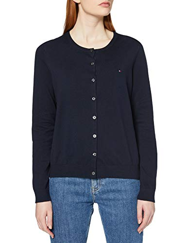 Tommy Hilfiger Damen Heritage Button-Up Cardigan Strickjacke, Blau (Midnight 403), One Size (Herstellergröße: L)