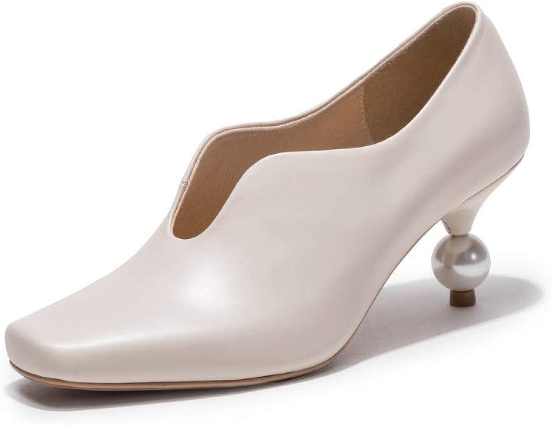 Nio Sju Kvinnors Genuine läder Square Toe Mid Exquisite Exquisite Exquisite Heel Handgjort Casual Slip on Work Dress Pump skor  grossistpris och pålitlig kvalitet