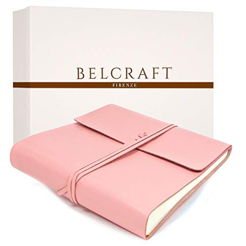 Belcraft Dolci Babyalbum Leder, Fotoalbum, Elegantes Geschenk mit Geschenkbox, Handgearbeitet in klassischem italienischem Stil, Pink