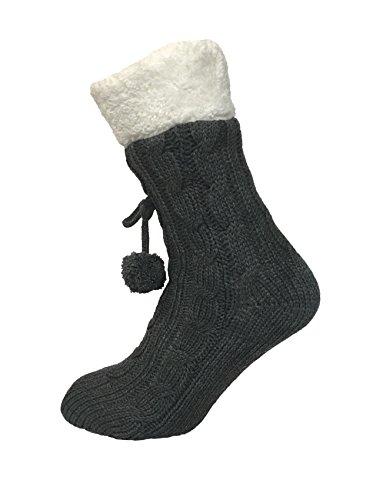 Strick-Hüttenschuhe für Damen mit Zopfmuster, warm gefütterte & rutschfeste Fleece-Schuhe Gr. Einheitsgröße, grau