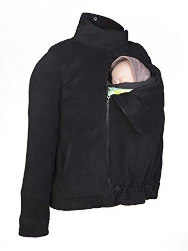 Momawo | Abrigo Polar de Porteo y Maternidad Multifuncional y Adaptable, Unisex, Ideal para Invierno, Color Negro M