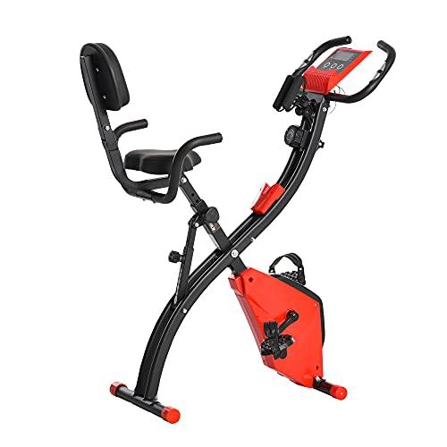 homcom Cyclette Pieghevole 2 in 1, Resistenza Magnetica Regolabile 8 Livelli, Bici da Fitness con Sensore di Frequenza Cardiaca, Elastici per Braccia, Schermo LCD, Volano 2.5kg, Rosso