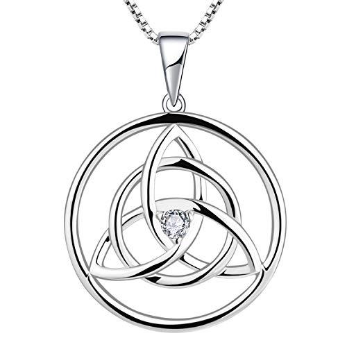 YL Kette Keltische 925 Sterling Silber April Geburtsstein Weiß Zirkonia Irische Knoten Anhänger Halskette für Damen