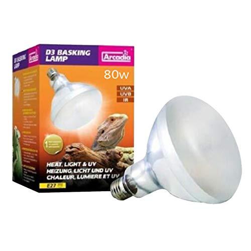 Fenteer UVA UVB Reptile Heat Lamp Full Sun Light Heat Light Basking Spot Bulb for Reptile Amphibian Lizard Tortoise Frog Snake - 80W