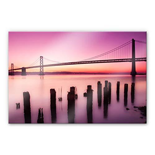 dalinda San Francisco Bay - Cuadro de pared (cristal acrílico, 120 x 75 cm), diseño de puente dorado