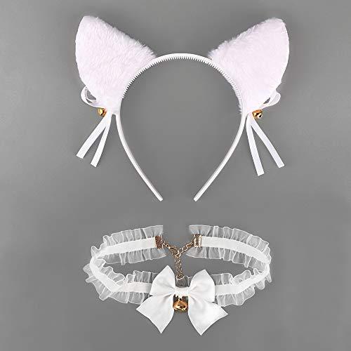 FLOFIA Kit Disfraz de Gato Accesorio Diadema de Gato Orejas de Gato Blanco + Collar Choker Encaje Blanco Políester con Campana Suministros para Mujer Niña Disfraces Fiesta Halloween Cumpleaños Cosplay